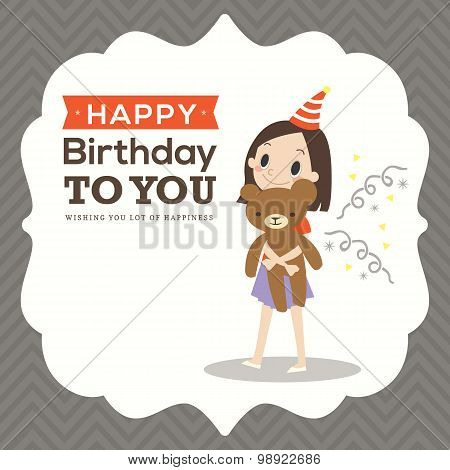 Happy Birthday Card With Kid Cartoon