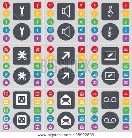 Wrench, Sound, Clef, Wrench, Full Screen, Laptop, Socket, Message, Cassette Icon Symbol. A Large Set