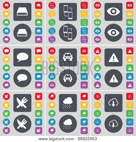 Hard Drive, Connection, Vision, Chat Bubble, Car, Warning, Fork And Knife, Cloud Icon Symbol. A Larg