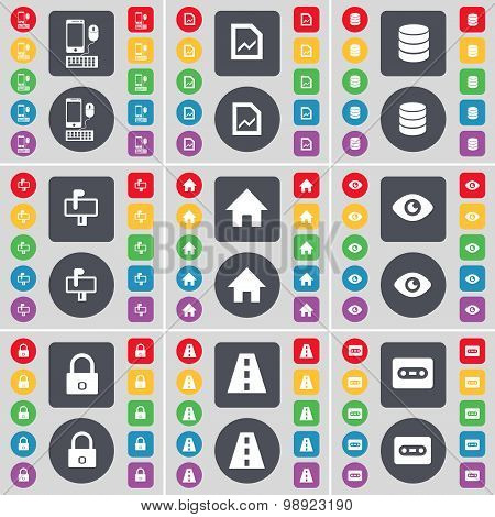 Smartphone, Graph File, Database, Mailbox, House, Vision, Lock, Road, Cassette Icon Symbol. A Large