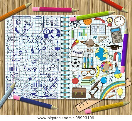 Drawing School Items On A Sheets Of Exercise Book Background.