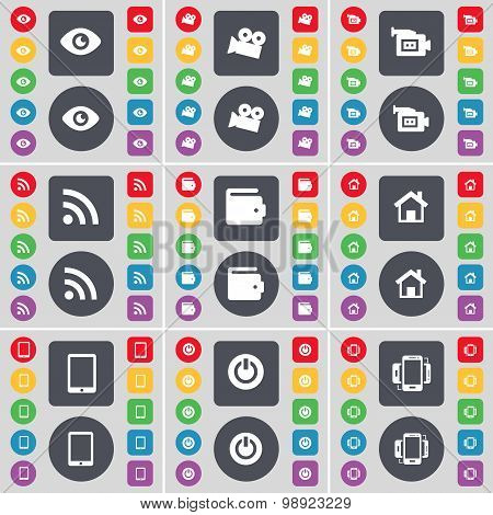 Vision, Film Camera, Film Camera, Rss, Wallet, House, Tablet Pc, Power, Smartphone Icon Symbol. A La