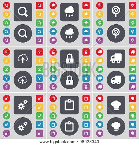 Magnifying Glass, Cloud, Lollipop, Cloud, Lock, Truck, Gear, Survey, Cooking Hat Icon Symbol. A Larg