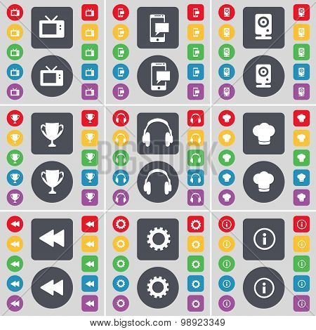 Retro Tv, Sms, Speaker, Cup, Headphones, Cooking Hat, Rewind, Gear, Information Icon Symbol. A Large