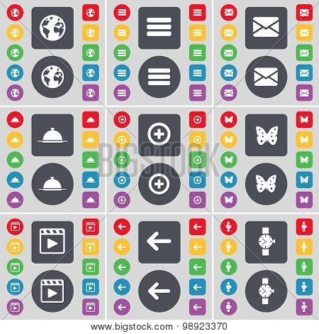 Earth, Apps, Message, Tray, Plus, Buttery, Media Player, Arrow Left, Wrist Watch Icon Symbol. A Larg