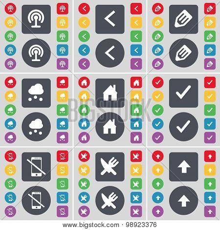 Wi-fi, Arrow Left, Pencil, Cloud, House, Tick, Smartphone, Fork And Knife, Arrow Up Icon Symbol. A L