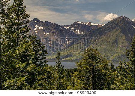 Trees, Lake, Mountains