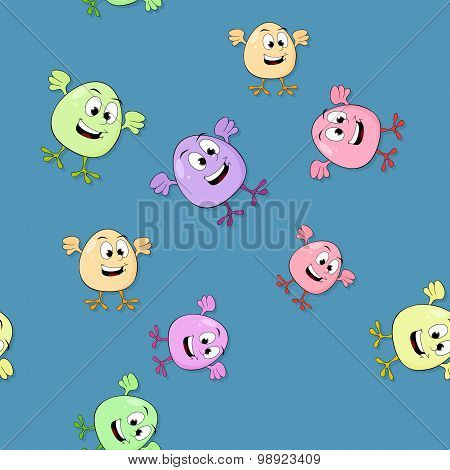 Seamless Pattern  With Colored Smiling Eggs