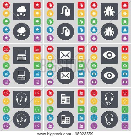 Cloud, Mouse, Bug, Laptop, Message, Vision, Headphones, Building Icon Symbol. A Large Set Of Flat, C