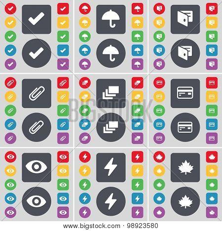Tick, Umbrella, Wallet, Clip, Gallery, Credit Card, Vision, Flash, Maple Leaf Icon Symbol. A Large S
