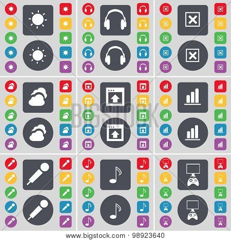 Light, Headphones, Stop, Cloud, Window, Diagram, Microphone, Note, Game Console Icon Symbol. A Large