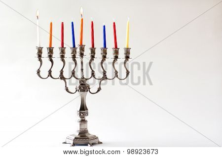 Hanukkah Menorah - First Day Of  Hanukkah