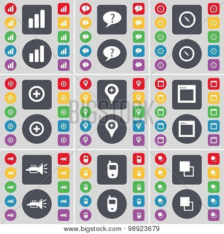 Diagram, Chat Bubble, Compass, Plus, Checkpoint, Window, Trumped, Mobile Phone, Copy Icon Symbol. A