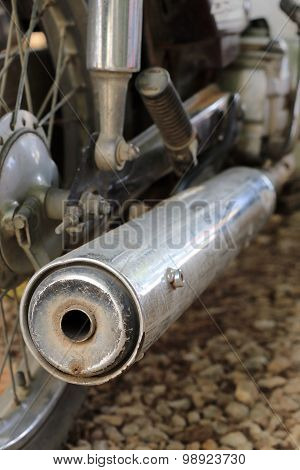 Old Motorcycle Exhaust Pipe Dirty