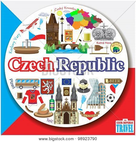 Czech Republic Round Background. Vector Colored Flat Icons And Symbols Set