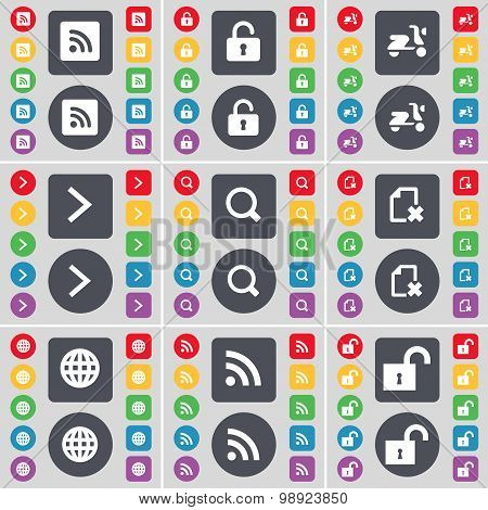 Rss, Lock, Scooter, Arrow Right, Magnifying Glass, File, Globe, Rss, Lock Icon Symbol. A Large Set O
