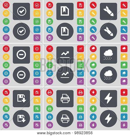 Tick, File, Rocket, Minus, Graph, Cloud, Floppy, Printer, Flash Icon Symbol. A Large Set Of Flat, Co