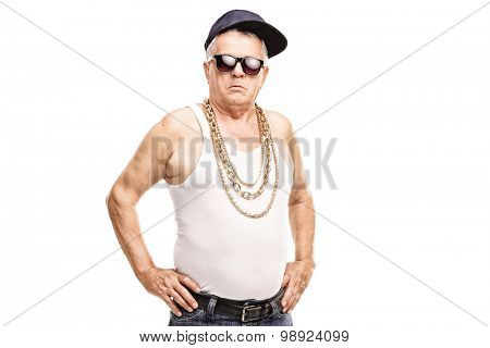 Senior man in hip-hop clothes looking at the camera isolated on white background