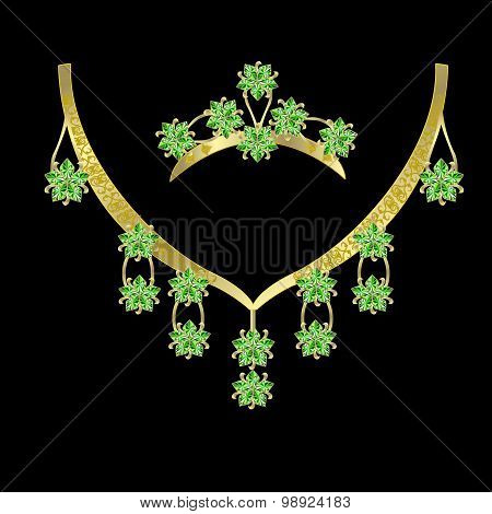 necklaces and a crown with emeralds.eps 1