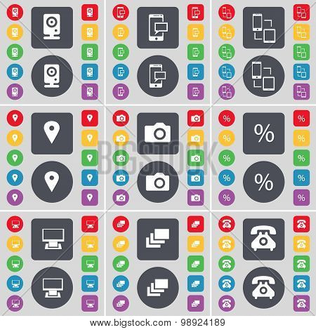 Speaker, Sms, Connection, Checkpoint, Camera, Percent, Monitor, Gallery, Retro Phone Icon Symbol. A
