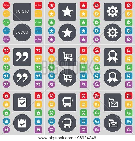 Note, Star, Gear, Quotation Mark, Shopping Cart, Medal, Survey, Bus, Sms Icon Symbol. A Large Set Of