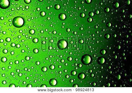 Water drops close up. Abstract Green background of waterdrops, droplets