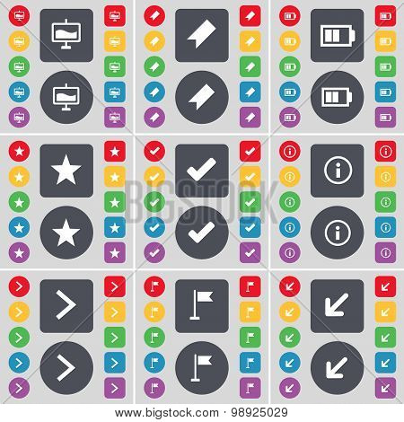 Graph, Marker, Battery, Star, Tick, Information, Arrow Right, Golf Hole, Deploying Screen Icon Symbo