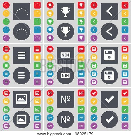 Star, Cup, Arrow Left, Apps, New, Floppy, Window, Number, Tick Icon Symbol. A Large Set Of Flat, Col