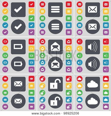 Tick, Apps, Message, Battery, Sound, Lock, Cloud Icon Symbol. A Large Set Of Flat, Colored Buttons F