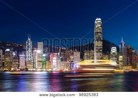 Skyline of hong kong at night