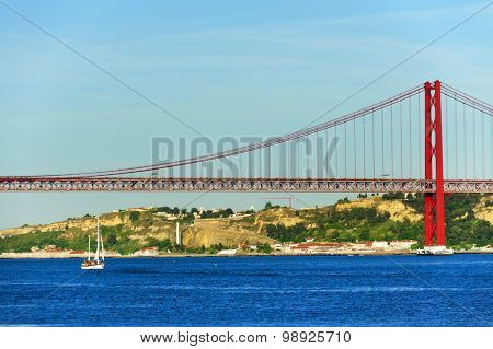 Bridge over the Tagus river in Lisbon, Portugal