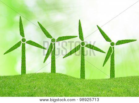 Green wind turbines symbol