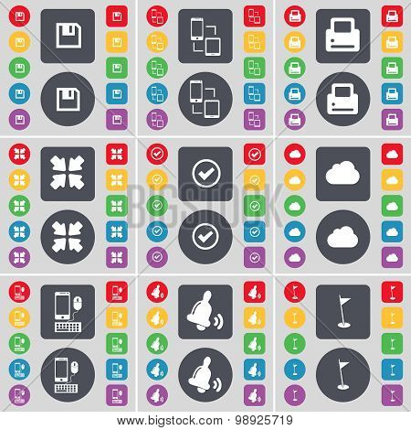 Floppy, Connection, Printer, Deploying Screen, Tick, Cloud, Smartphone, Bell, Golf Hole Icon Symbol.