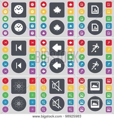Clock, Maple Leaf, Diagram File, Media Skip, Arrow Left, Silhouette, Star, Mute, Window Icon Symbol.