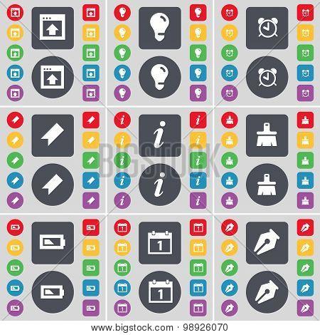 Window, Light Bulb, Alarm Clock, Marker, Information, Brush, Charging, Calendar, Ink Pen Icon Symbol