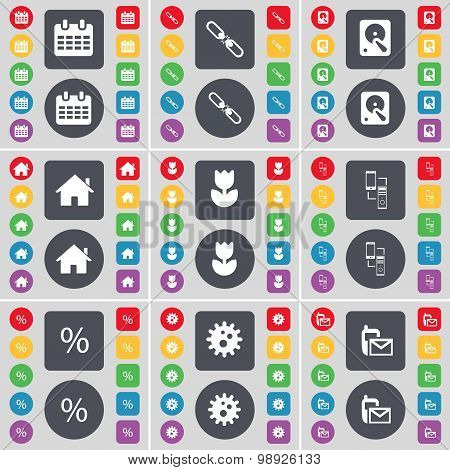 Calendar, Link, Hard Drive, House, Flower, Connection, Percent, Gear, Sms Icon Symbol. A Large Set O