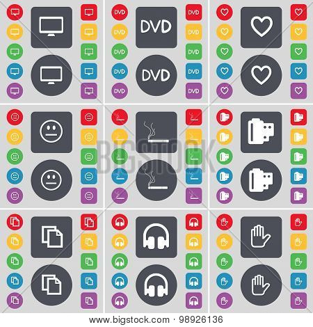 Monitor, Dvd, Heart, Smile, Cigarette, Negative Films, Copy, Headphones, Hand Icon Symbol. A Large S