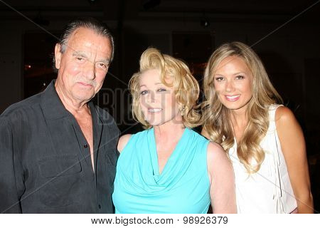 LOS ANGELES - AUG 15:  Eric Braeden, Melody Thomas Scott, Melissa Ordway at the