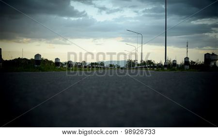 Road and sky at evening time - retro style