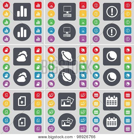 Diagram, Pc, Warning, Cloud, Planet, Moon, Upload File, Picture, Calendar Icon Symbol. A Large Set O