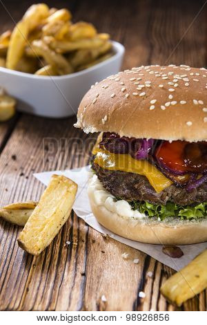 Big Burger With Homemade French Fries