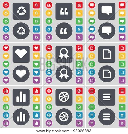 Recycling, Quotation Mark, Chat Bubble, Heart, Medal, File, Diagram, Ball, Apps Icon Symbol. A Large