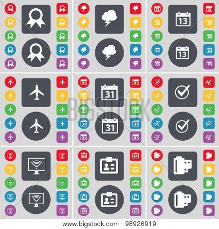 Medal, Lightning, Calendar, Airplane, Tick, Monitor, Contact, Negative Films Icon Symbol. A Large Se