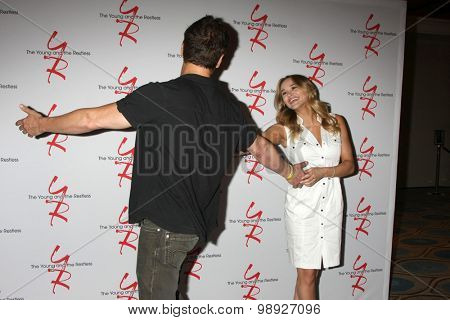 LOS ANGELES - AUG 15:  Christian LeBlanc, Hunter King at the