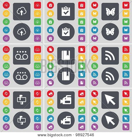 Cloud, Survey, Butterfly, Cassette, Dictionary, Rss, Mailbox, Film Camera, Cursor Icon Symbol. A Lar