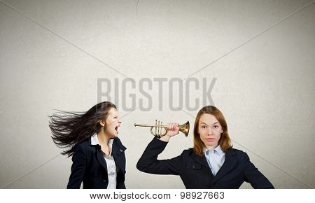 Businesswoman scream agressively in horn at another woman