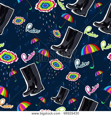Pattern with rubber boots, umbrella and cloud.