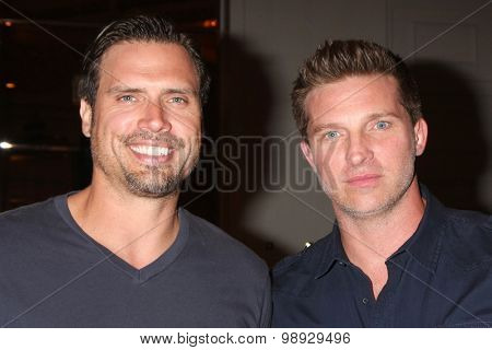 LOS ANGELES - AUG 15:  Joshua Morrow, Steve Burton at the