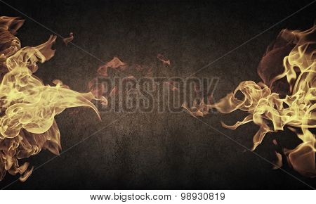 Fire outbreak on an abstract background from the sides