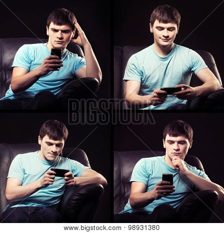 Modern teenager addicted to his smartphone feeling indifferent to life.